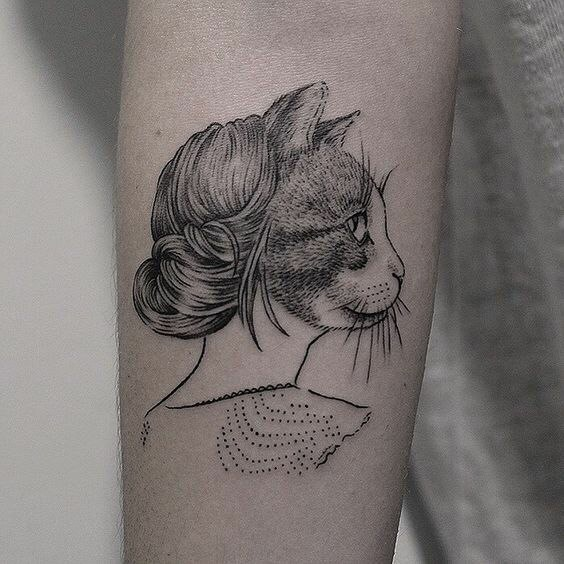#tattoo #black #white #cat фотография Gerda