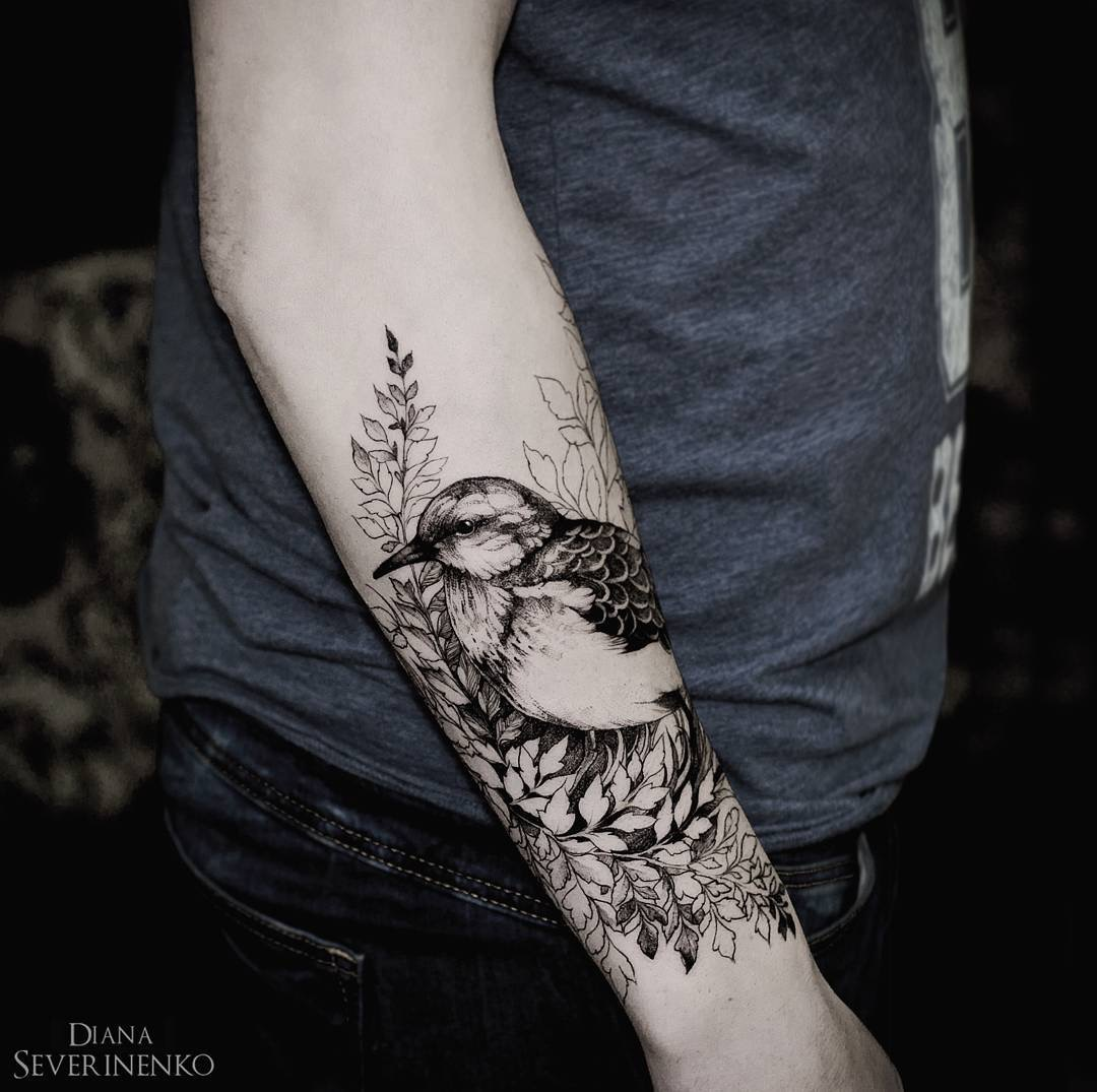 #tattoo #black #white #bird #flowers фотография Gerda