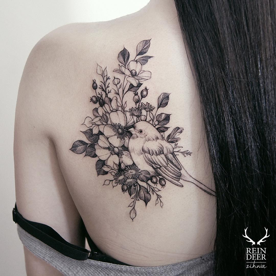 #tattoo #black #white #flowers #bird фотографія Gerda