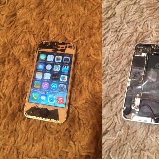 Фотография Мастер: Удивительно но работает. Разбитый Apple iPhone 4 16GB с аккумулятором от iPhone 5. #эксперименты
